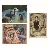 A Group of Three Colored Lithographs and Etching by