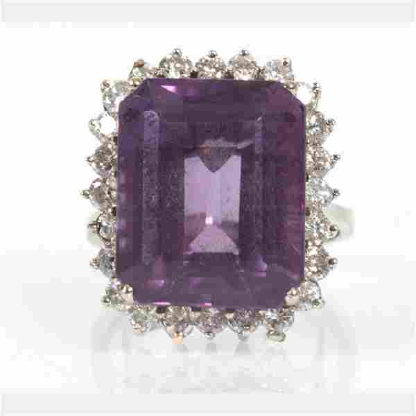 A 14kt. White Gold, Amethyst and Diamond Ring,