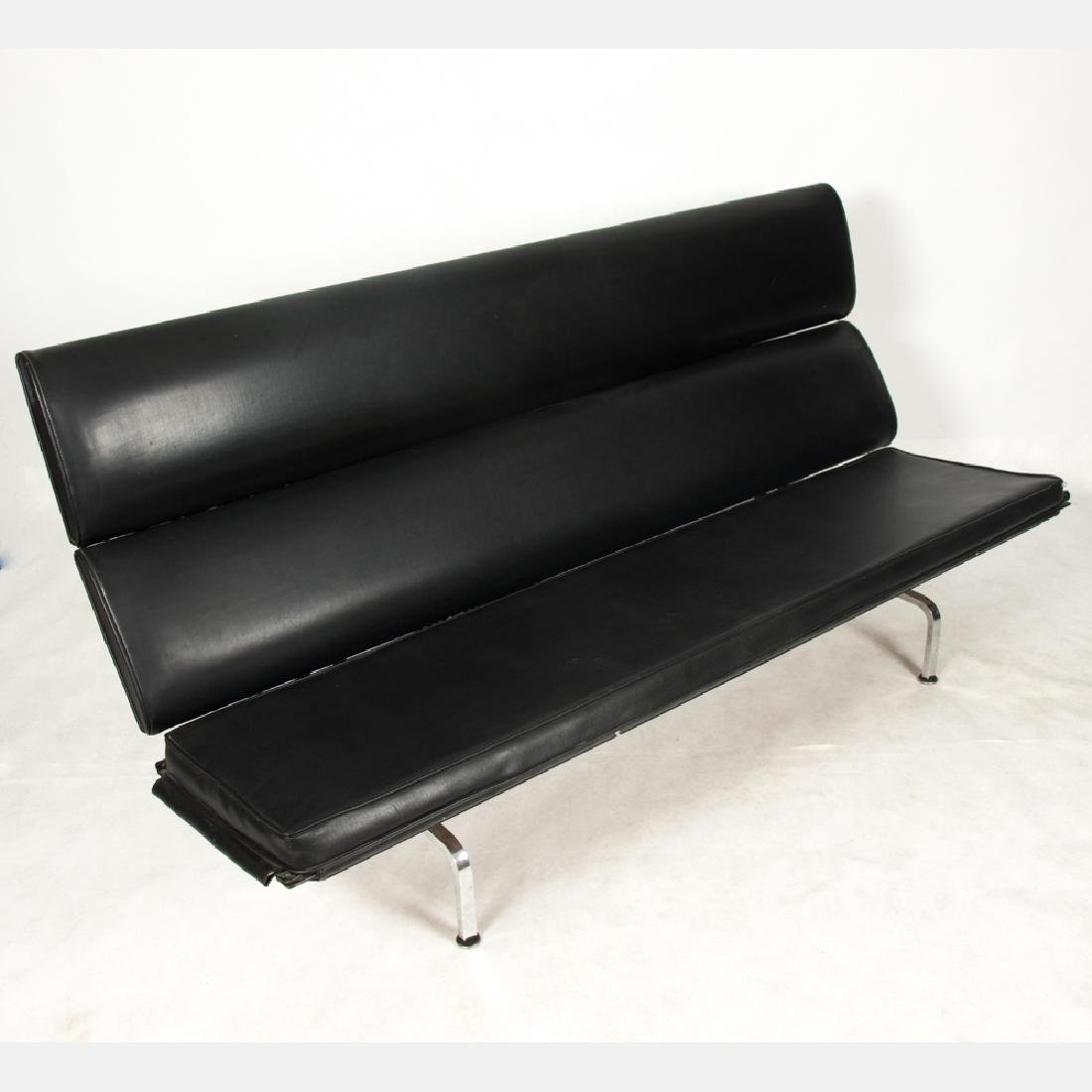 A Charles and Ray Eames Chrome and Leather Sofa