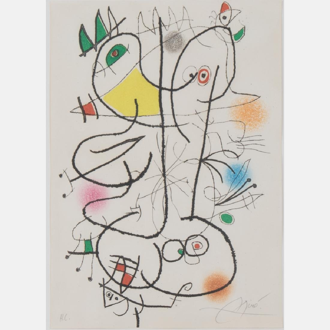 Joan Miro (1893-1983) Betes, 1972, Aquatint in colors,
