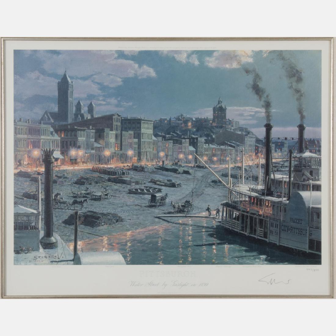 John Stobart (b.1929) Pittsburgh, Water Street by