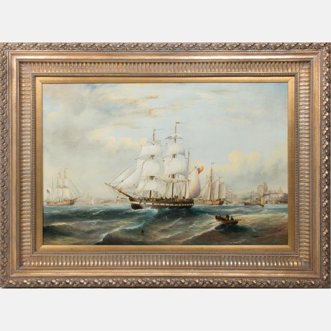 Cooper (20th Century) Harbor Scene with Boats, Oil on