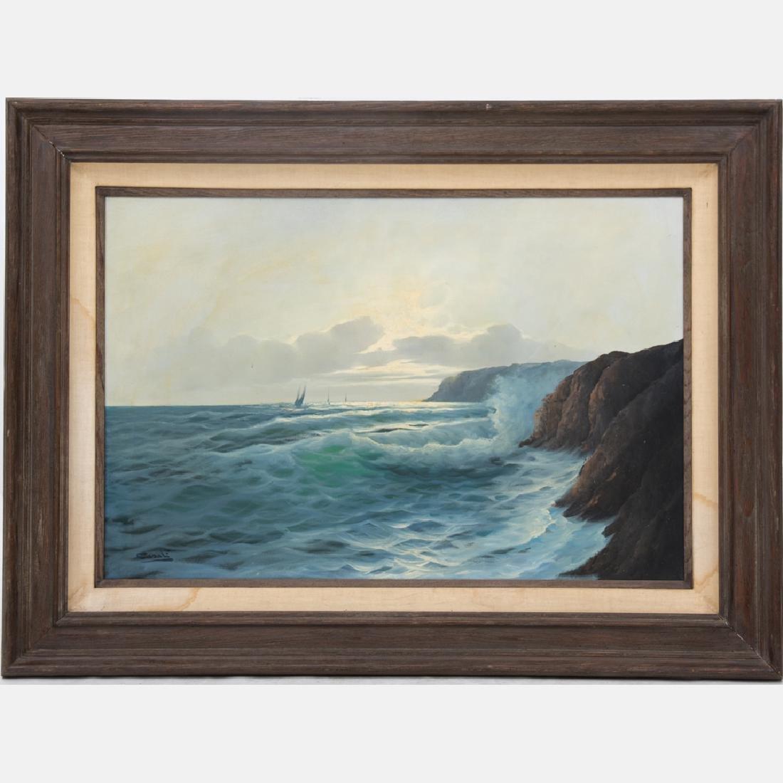 Carlo Casati (1889-1965) Coastal Scene, Oil on canvas,