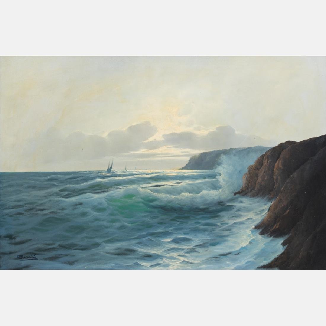 Carlo Casati (1889-1965) Coastal Scene, Oil on canvas, - 2