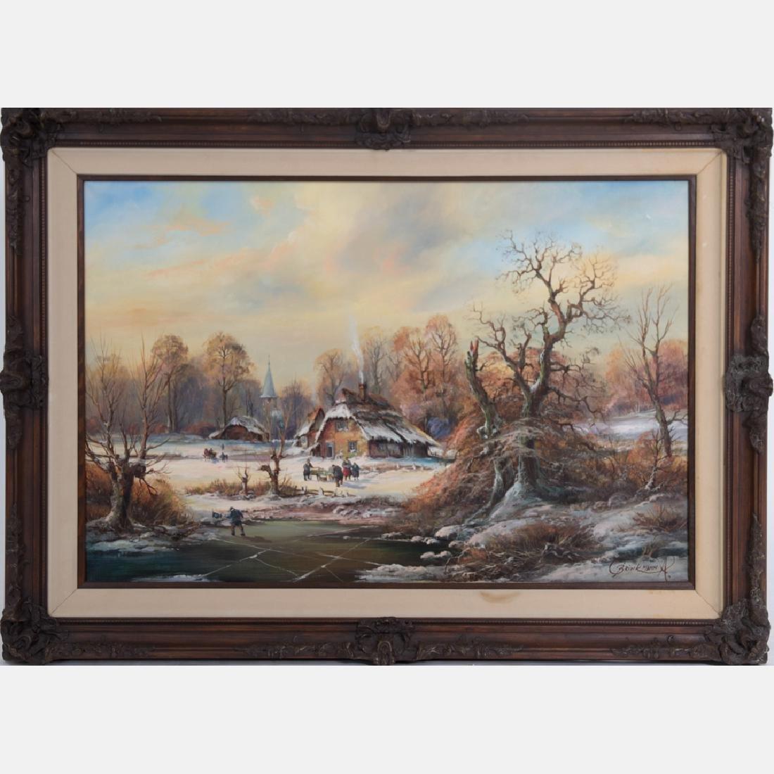 Albrecht Brinkmann (b. 1930) Winter Scene with Figures,