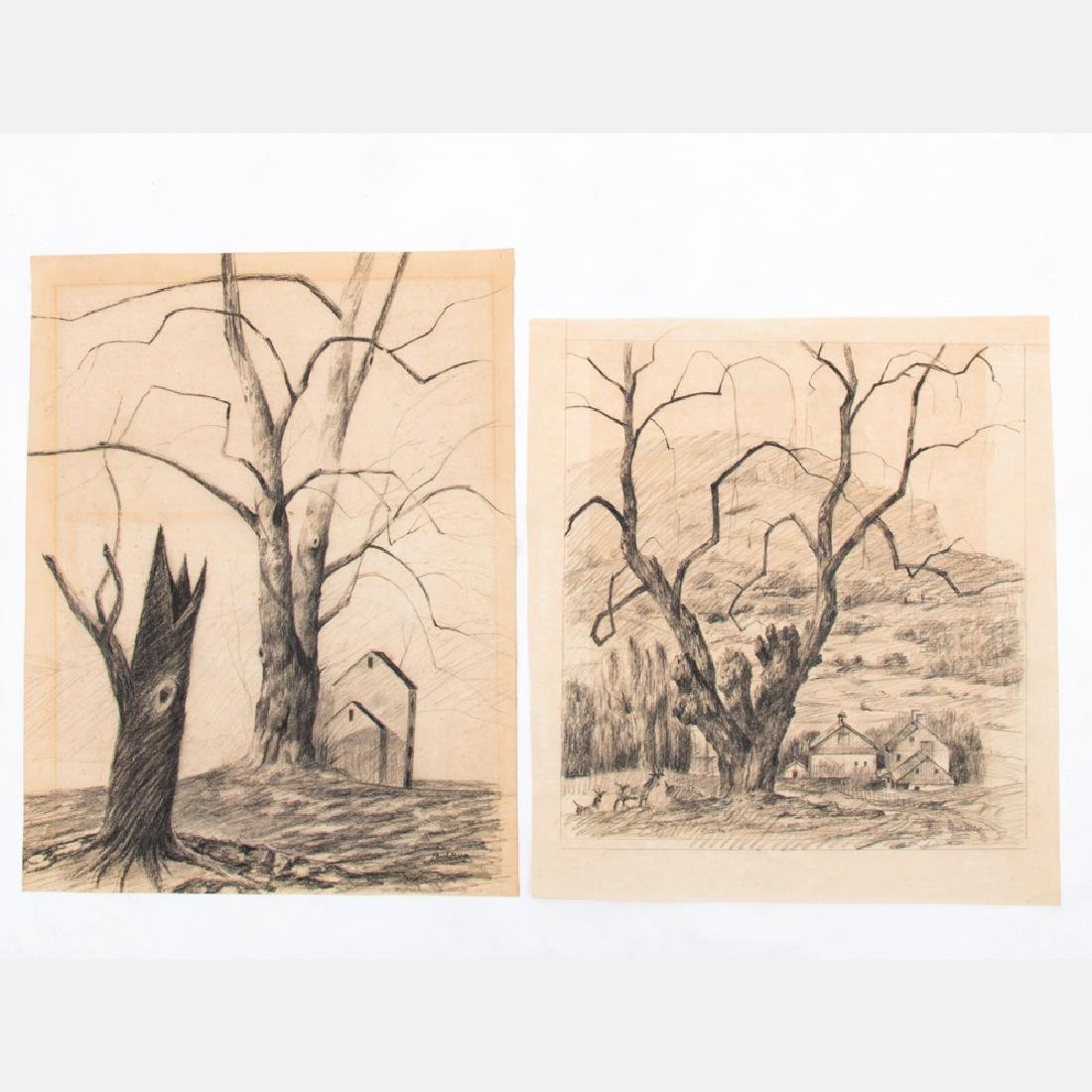 Paul Riba (1912-1977) Two Landscape Studies, Pencil on