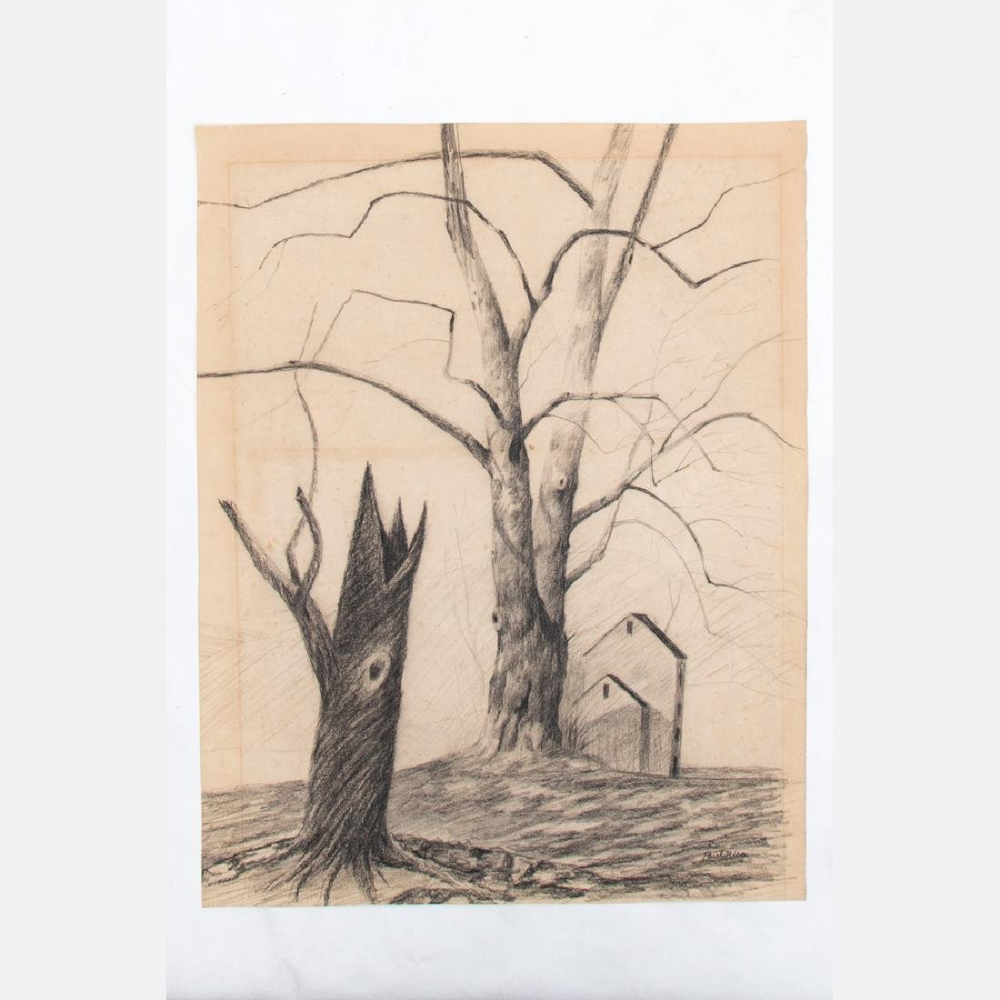 Paul Riba (1912-1977) Two Landscape Studies, Pencil on - 2
