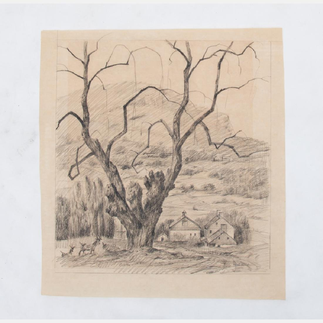 Paul Riba (1912-1977) Two Landscape Studies, Pencil on - 3