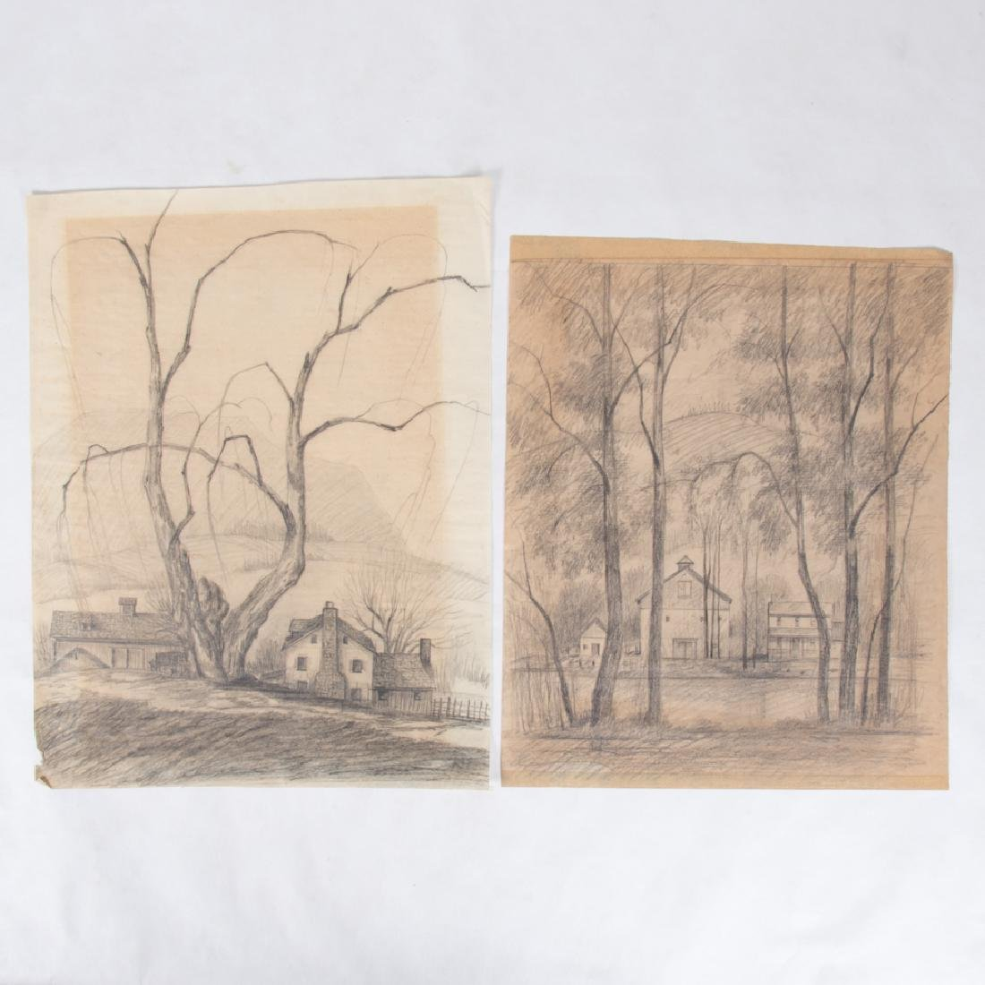 Paul Riba (1912-1977) Two Landscape Studies, Pencil on