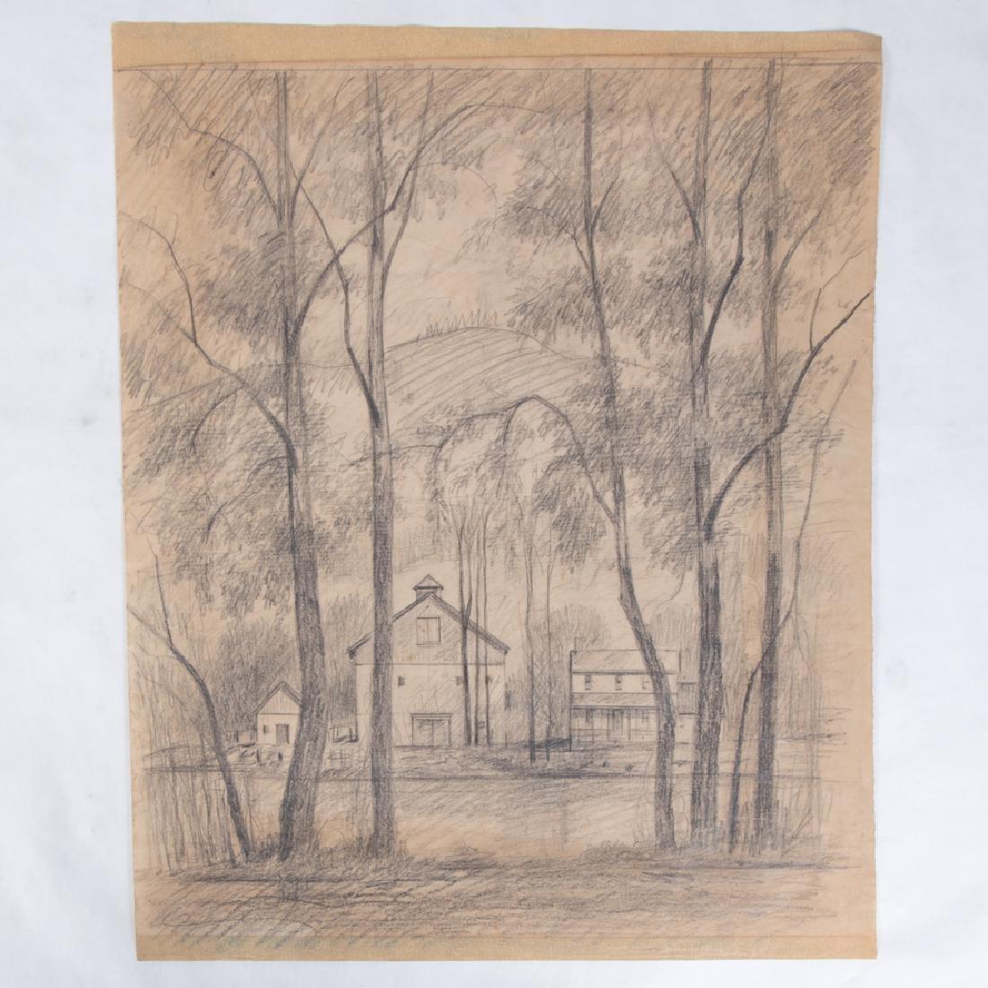 Paul Riba (1912-1977) Two Landscape Studies, Pencil on - 4