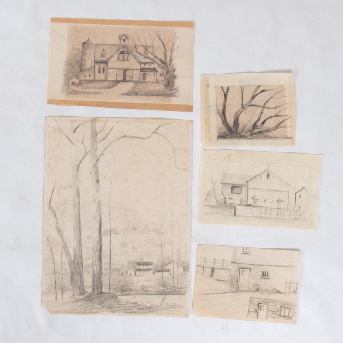 Paul Riba (1912-1977) A Group of Five Studies, Pencil