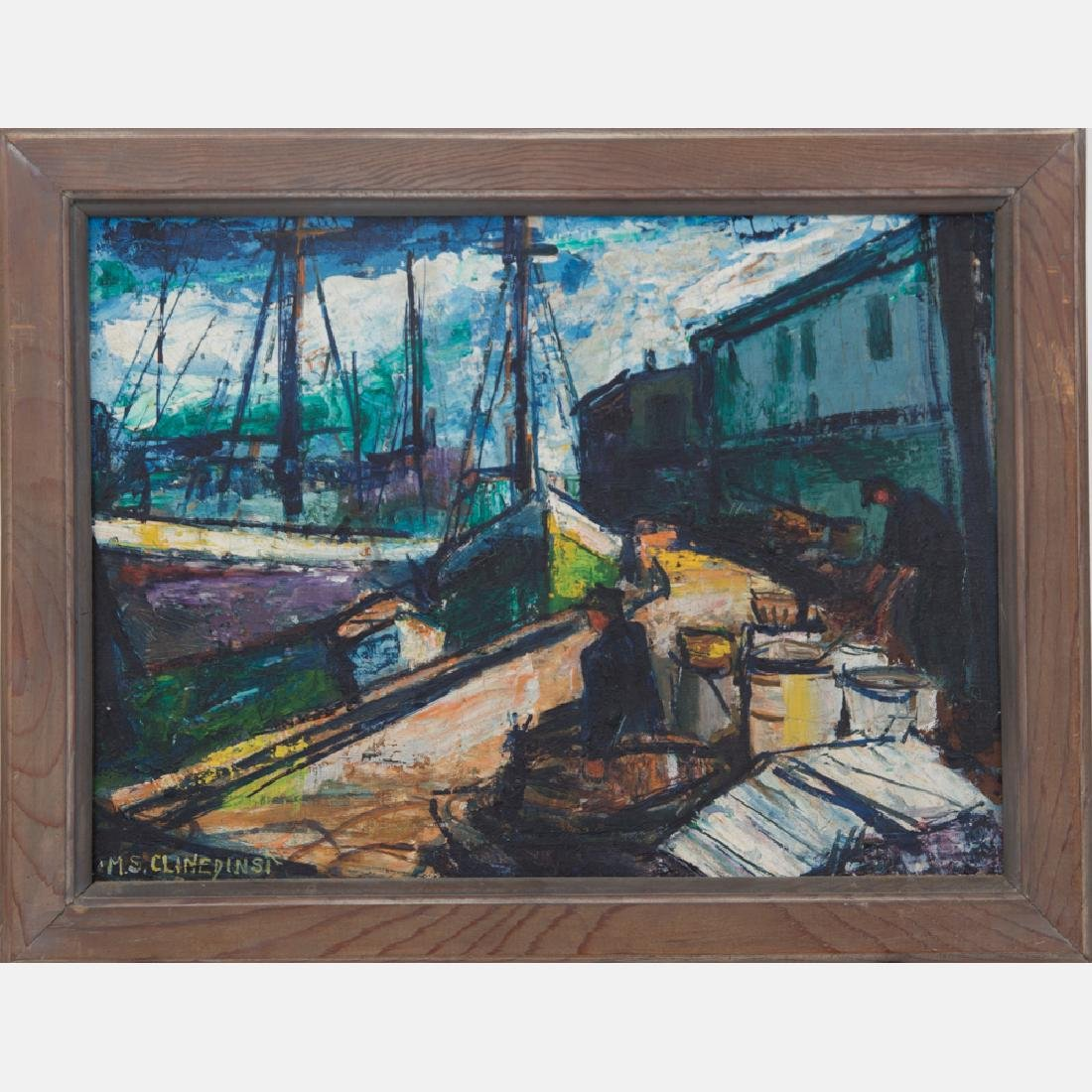 May Spear Clinedinst (1887-1960) Harbor Scene with