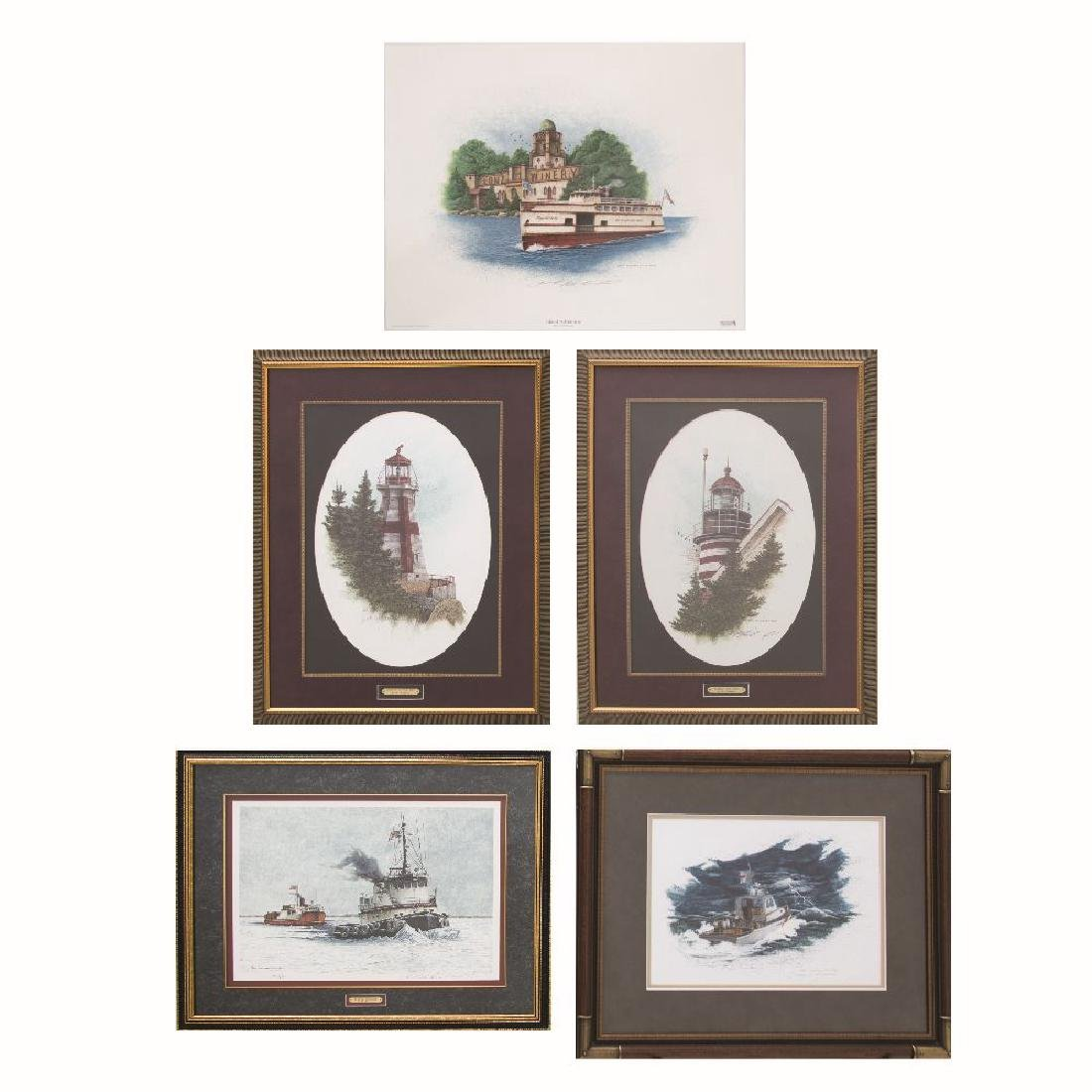 A Group of Five Lithographs and Original Watercolor by