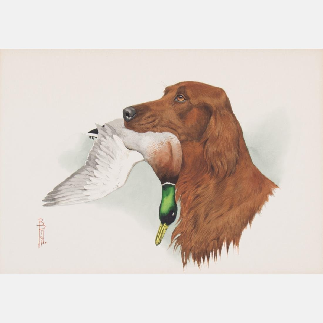 Boris Riab (1898-1975) Irish Setter with Mallard,