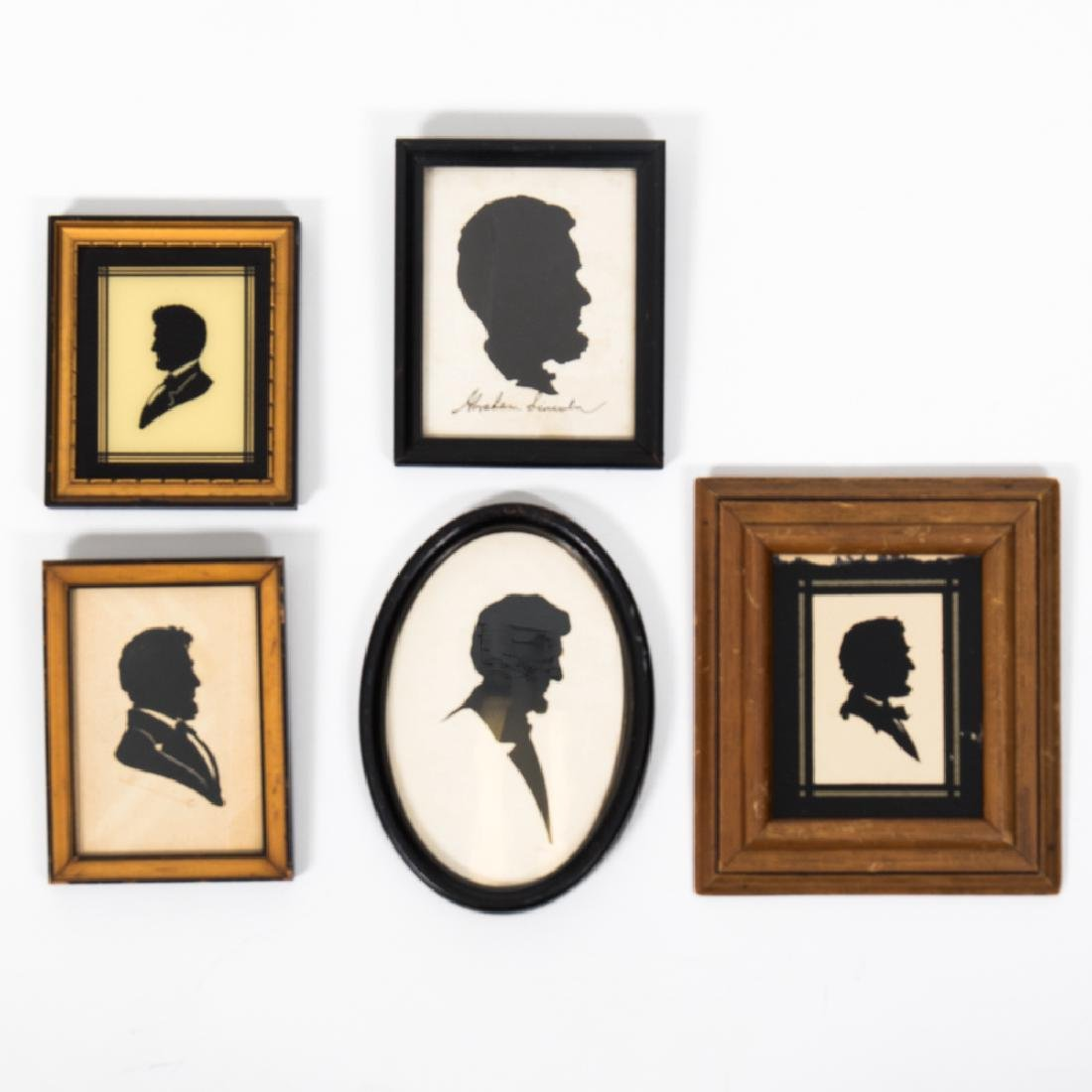A Collection of Five Cut Paper and Reverse Painted