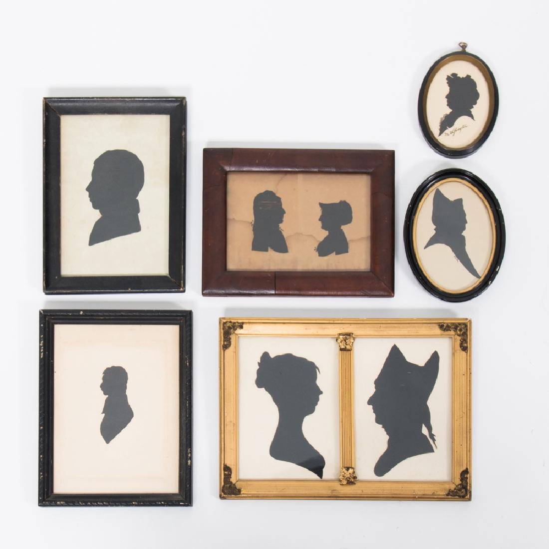 A Collection of Six Cut Paper and Satin Silhouettes,