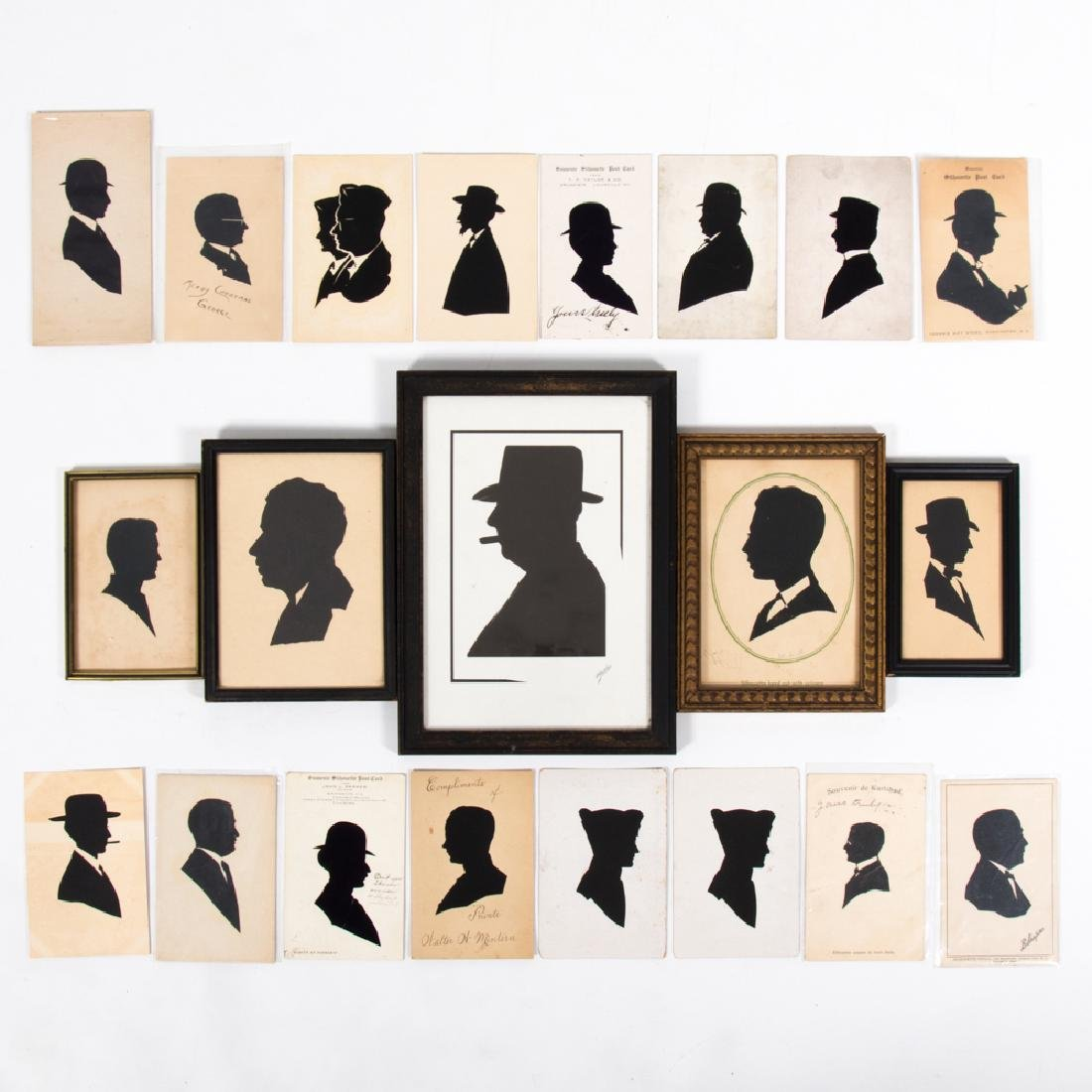 A Collection of Twenty Cut Paper and Ink Silhouettes