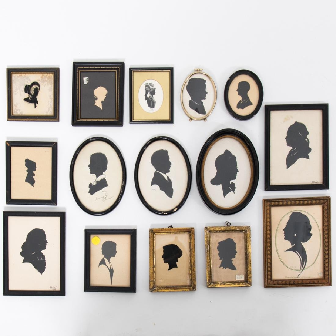 A Collection of Fifteen Cut Paper, Reverse Painted  and