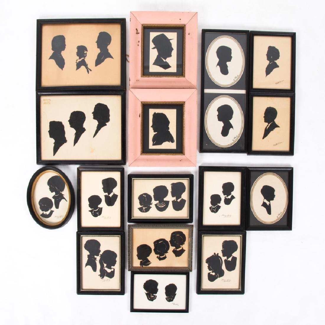 A Collection of Sixteen Cut Paper Silhouettes by