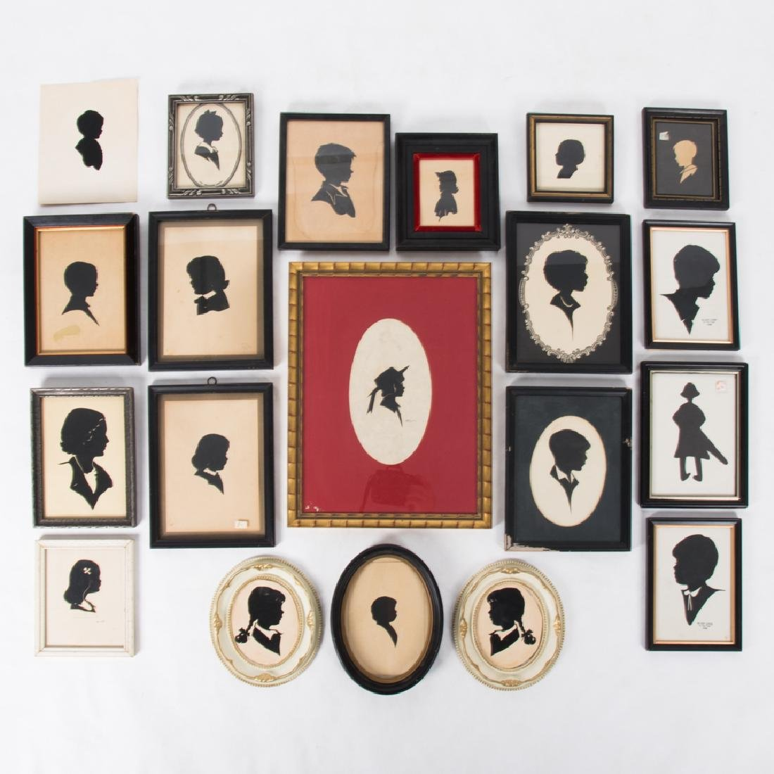 A Collection of Twenty Cut Paper Silhouettes Depicting