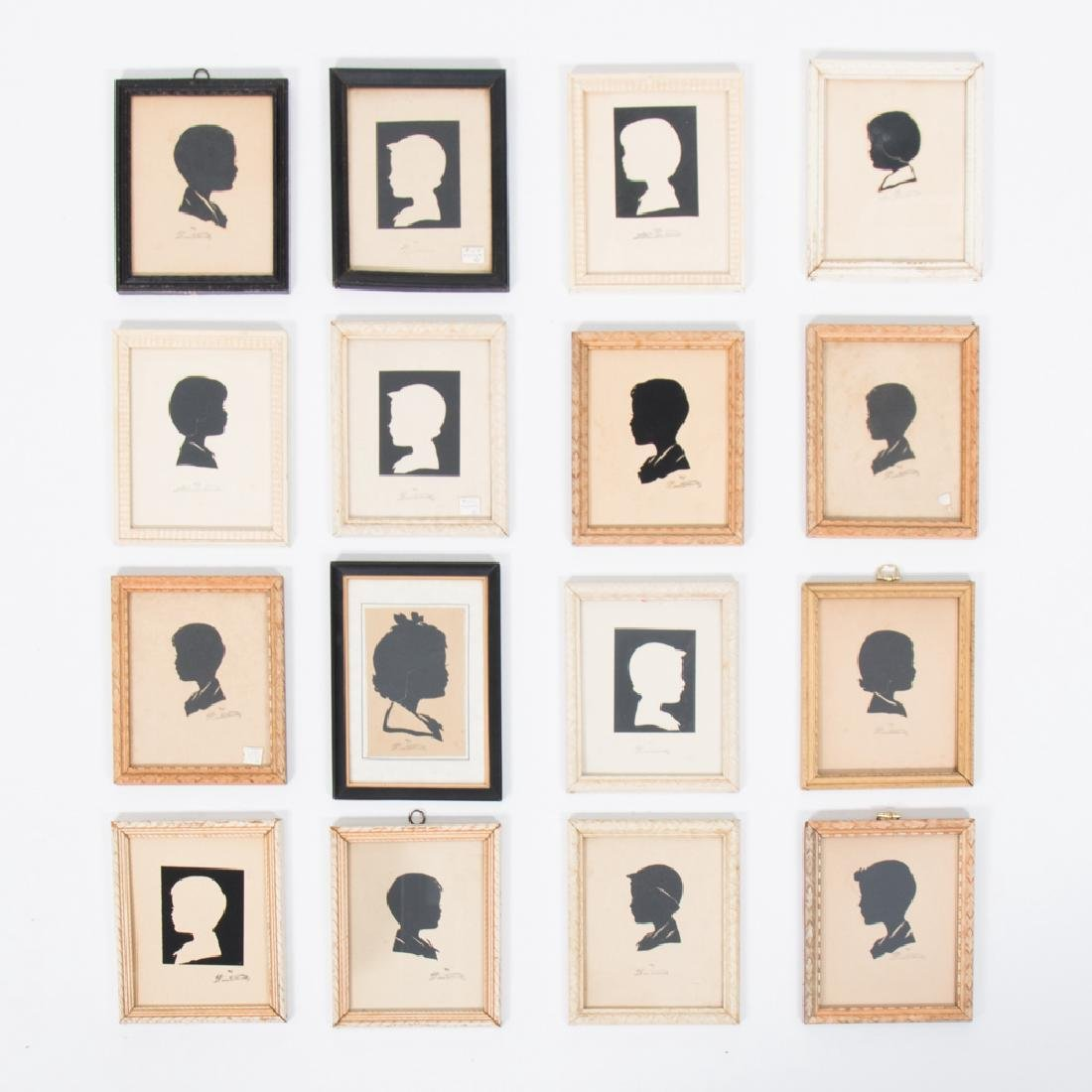 A Collection of Sixteen Cut Paper Silhouettes Depicting