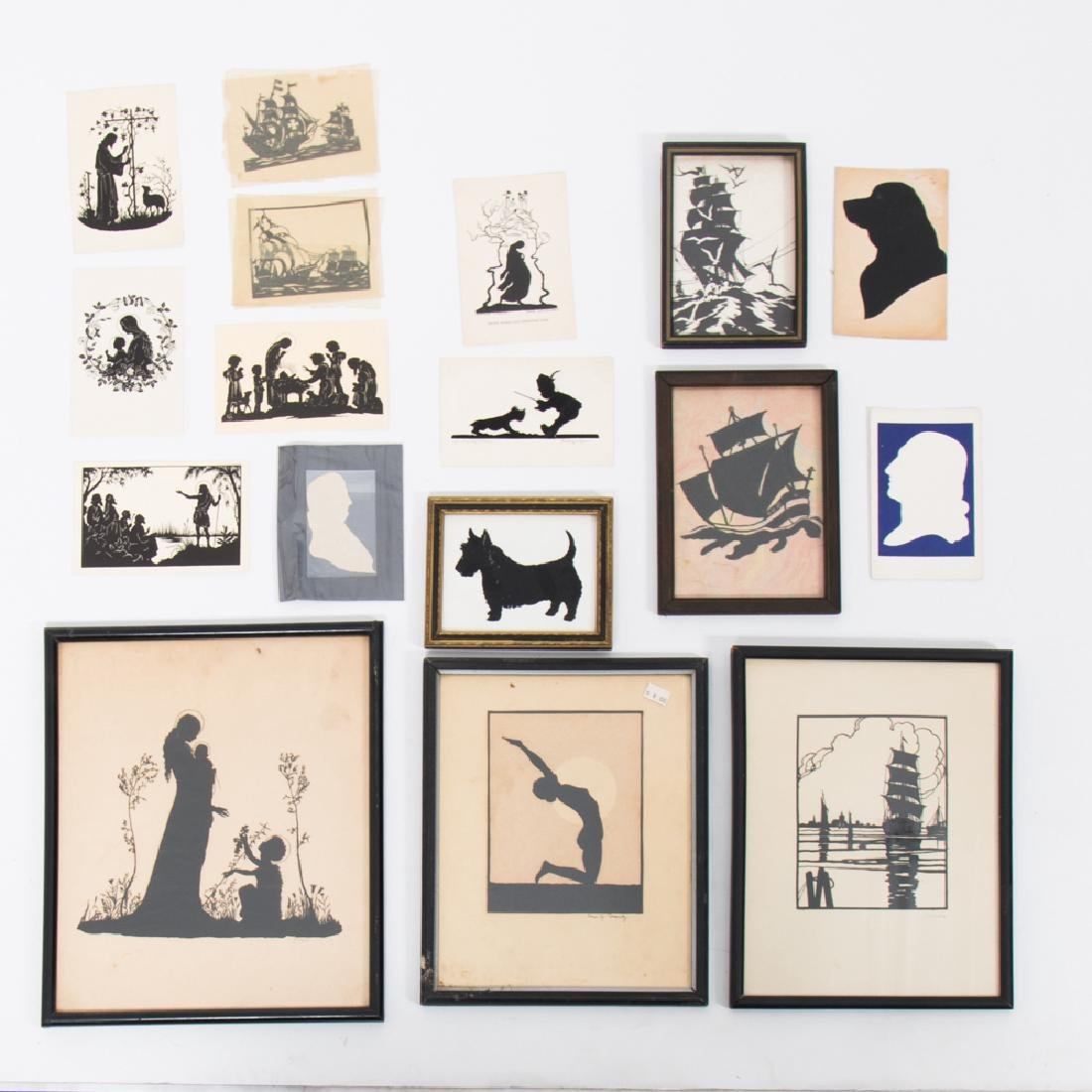 A Collection of Seventeen Cut Paper and Ink Silhouettes