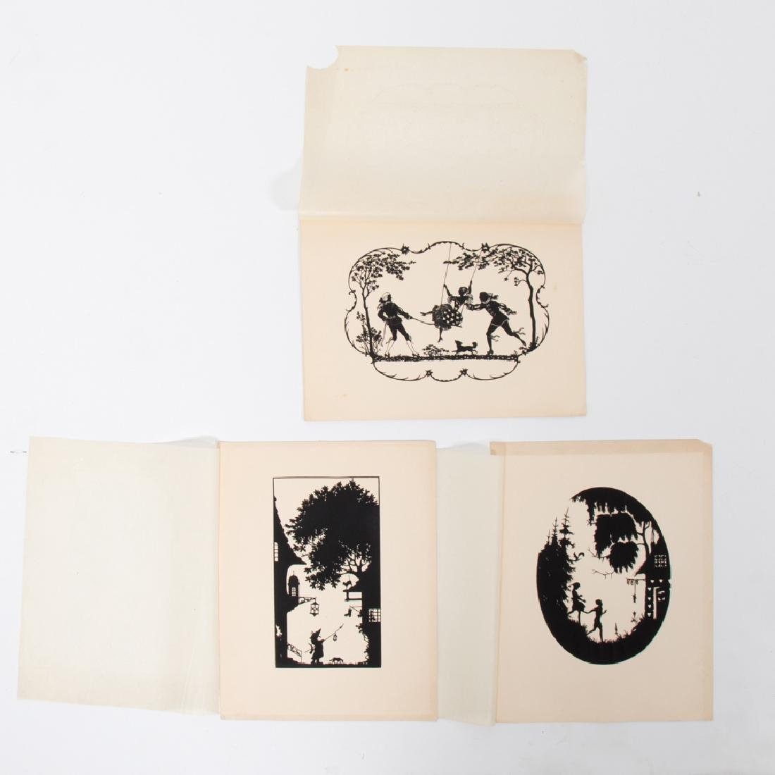 A Collection of Three Cut Paper Silhouettes Depicting