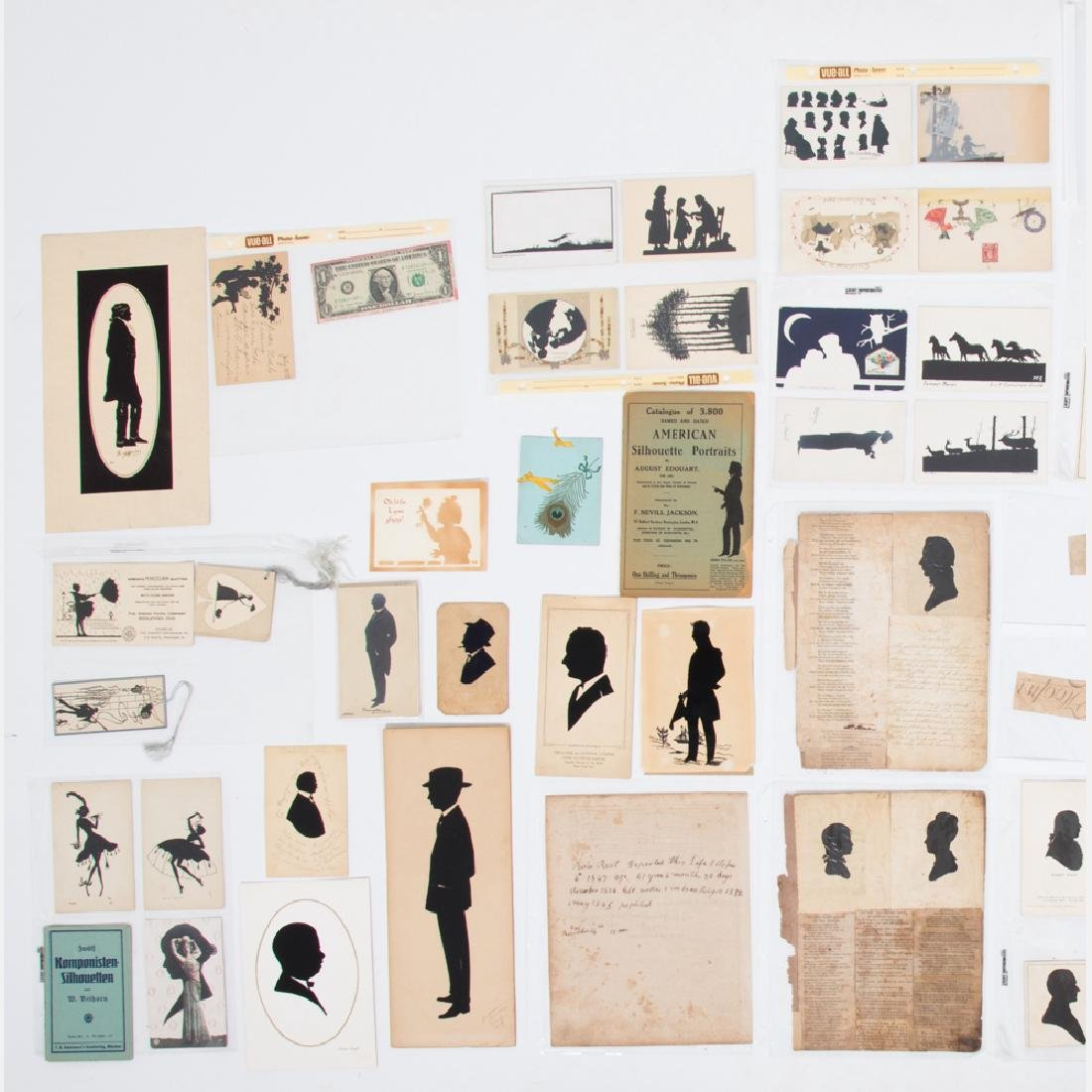 A Collection of Five Cut Paper and Ink Silhouettes by - 2