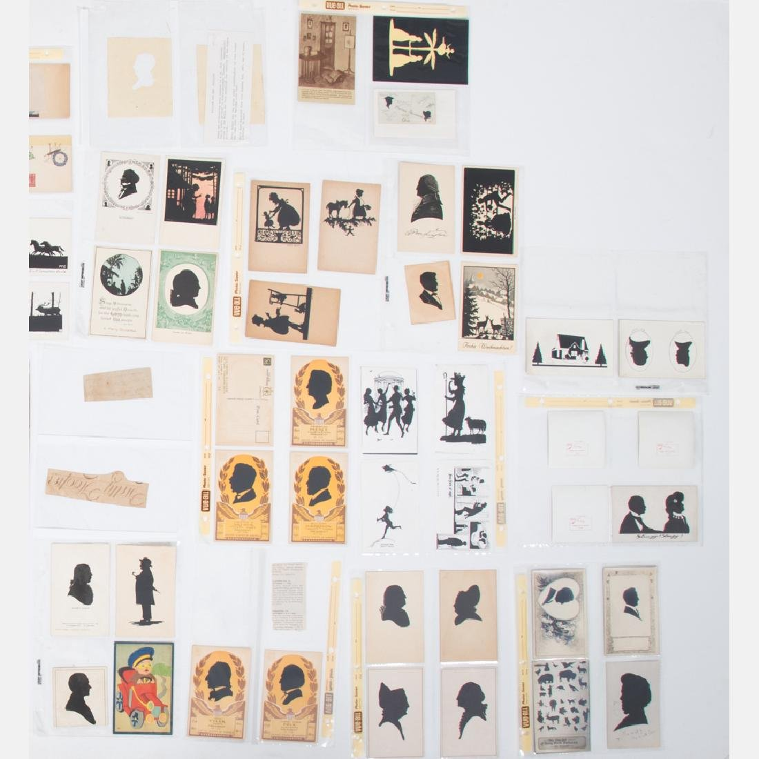 A Collection of Five Cut Paper and Ink Silhouettes by - 3