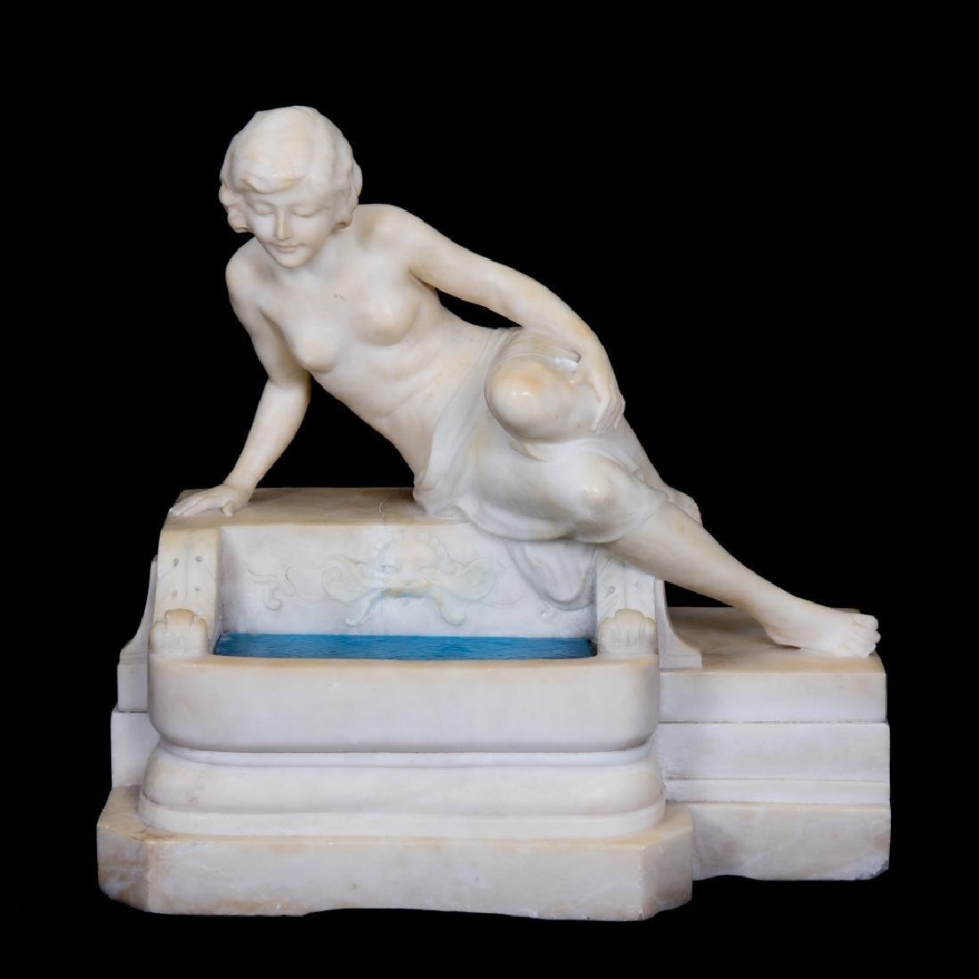 An Art Deco Carved Alabaster Light Depicting a Female