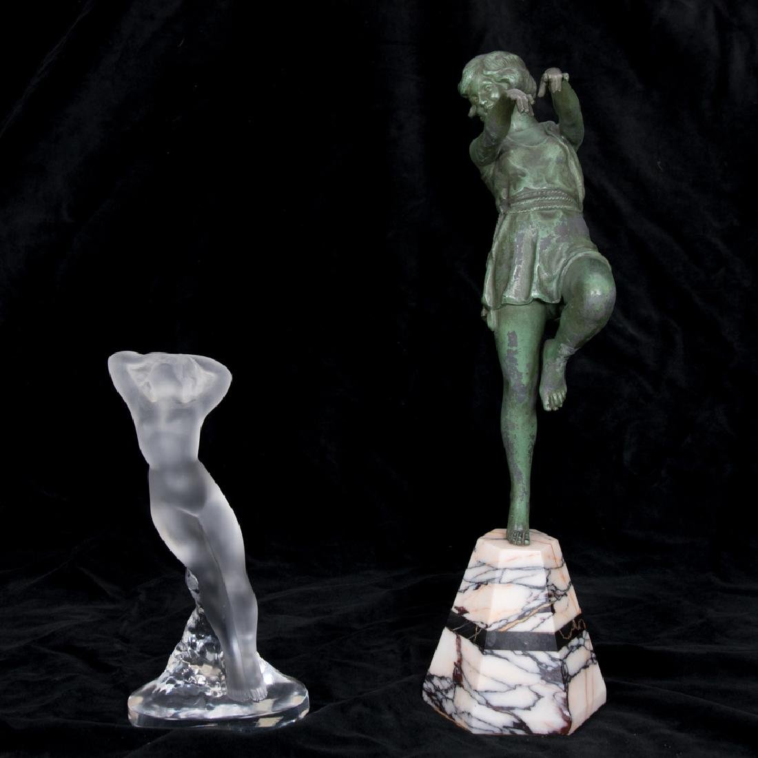 A Deco Patinated Spelter Dancing Figure on a Marble
