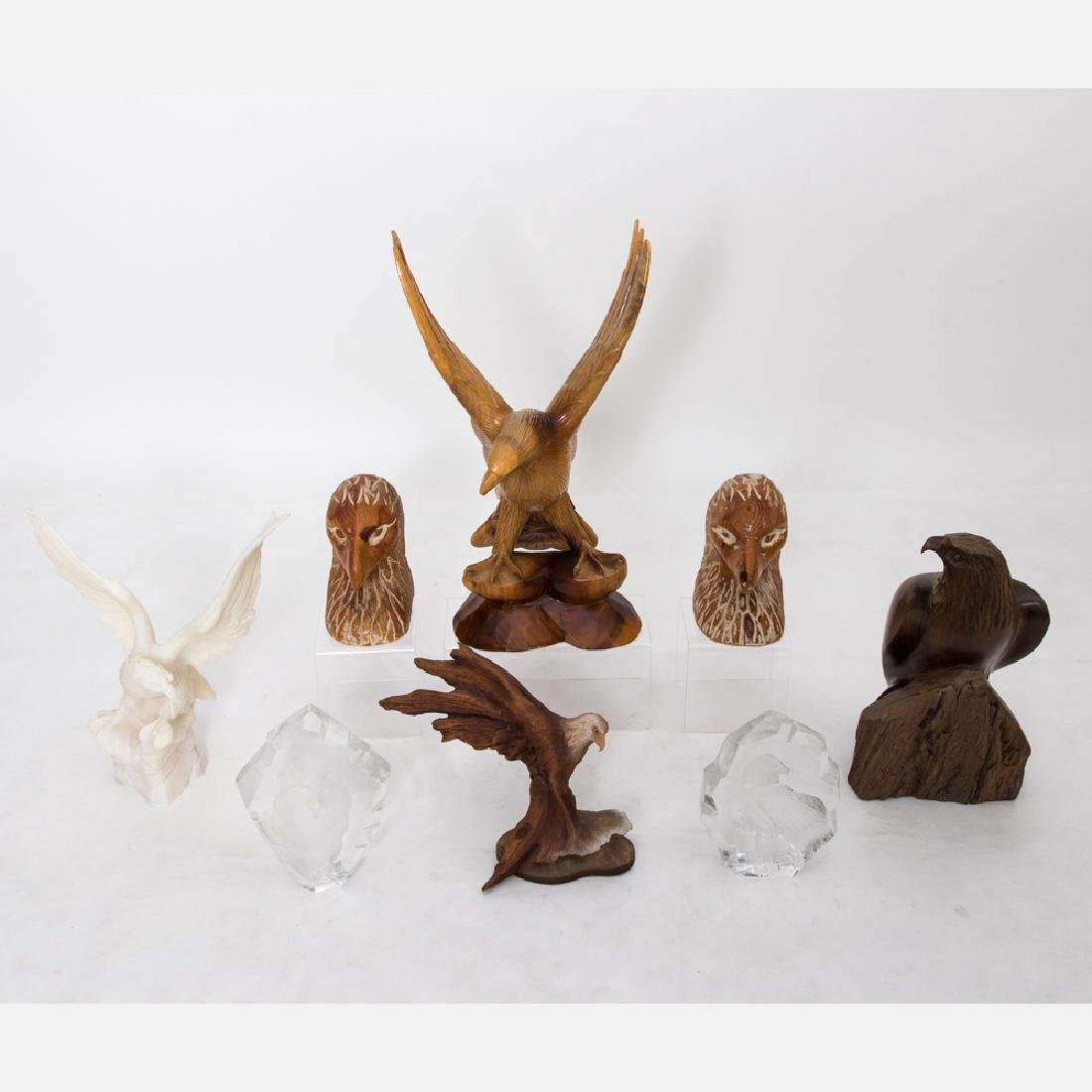 A Miscellaneous Collection of Carved Wood, Crystal and