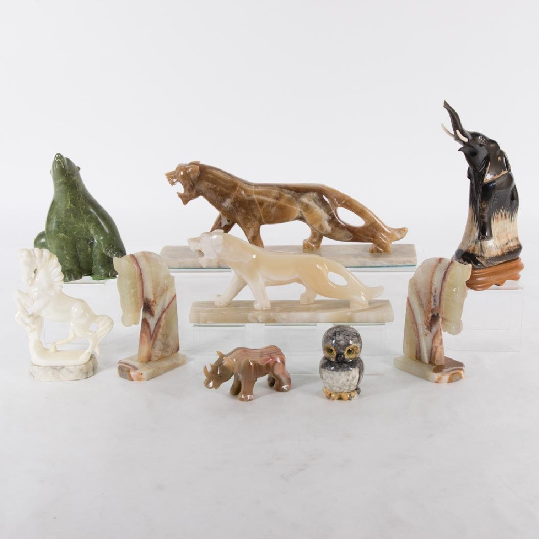 A Collection of Nine Carved Horn and Hardstone Animal