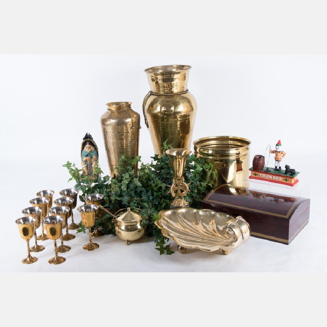 A Miscellaneous Collection of Brass, Metal Wood
