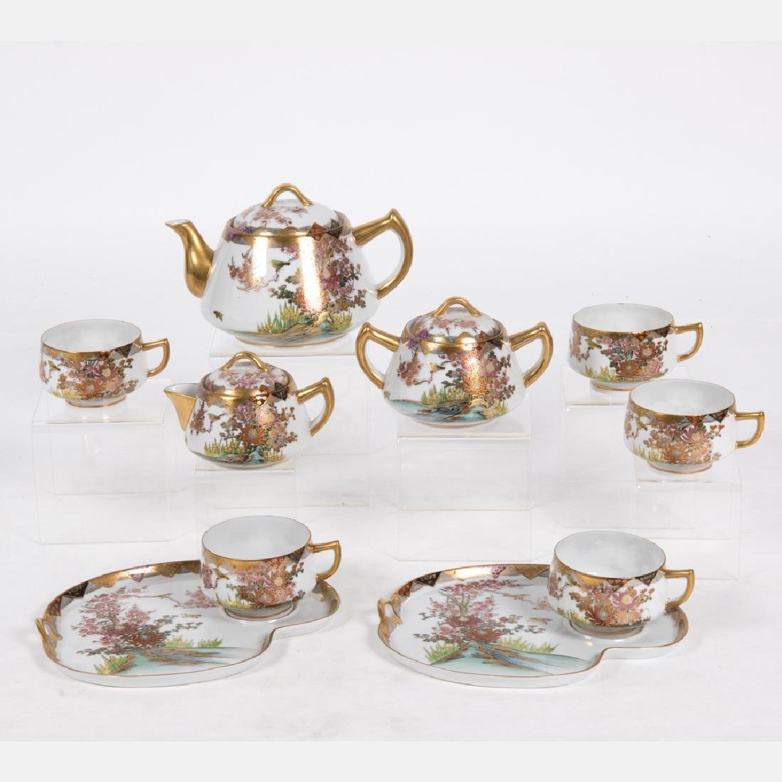 A Partial Japanese Porcelain Satsuma Style Tea Set,