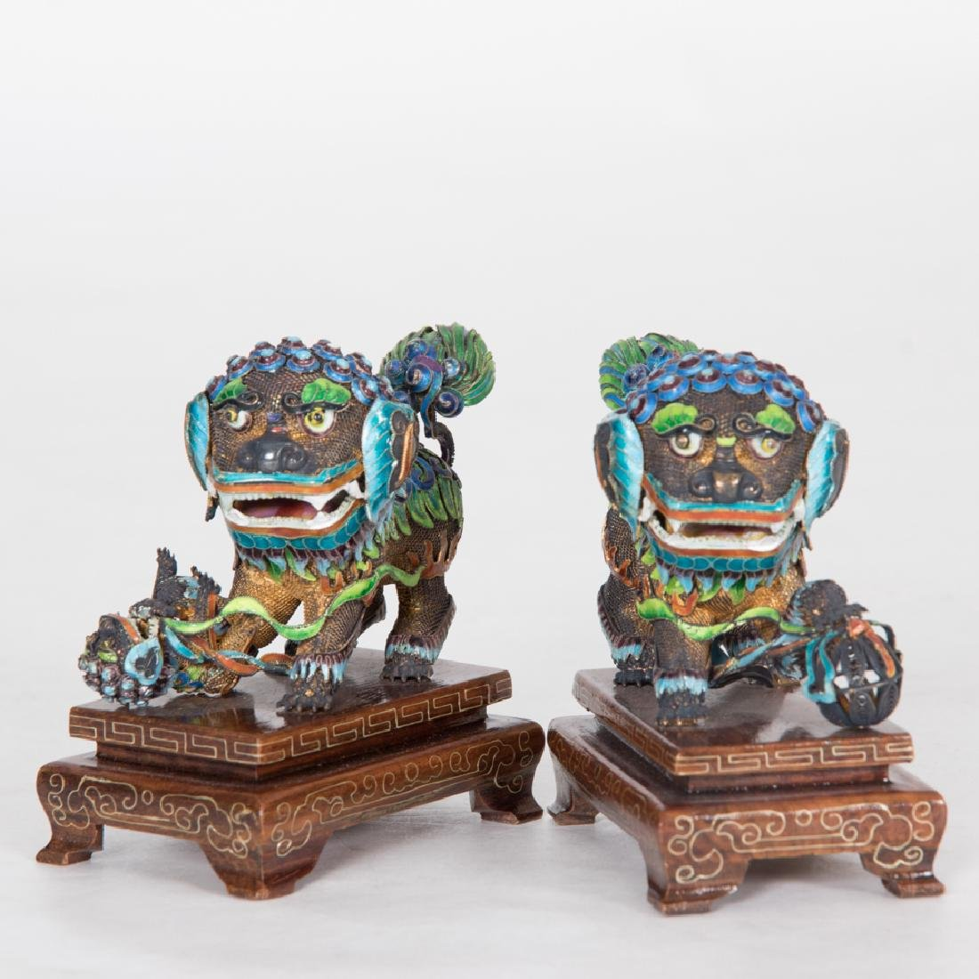 A Pair of Chinese Cloisonné and Silvered Metal Foo