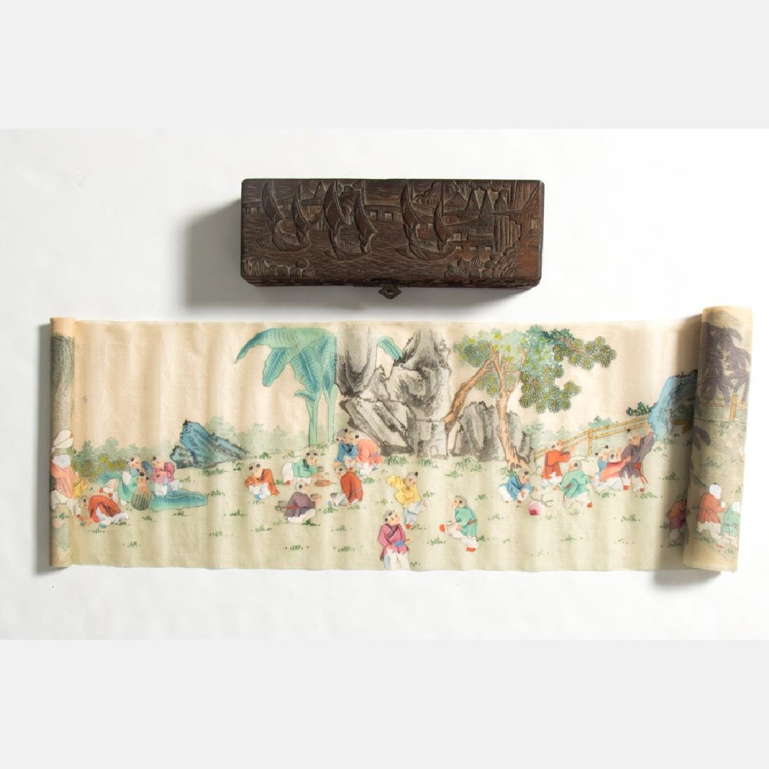 A Chinese Painted Silk 'Thousand Faces' Scroll in