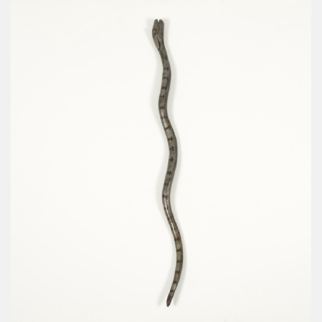 A Folk Art Carved and Painted Hardwood Snake Form Cane,