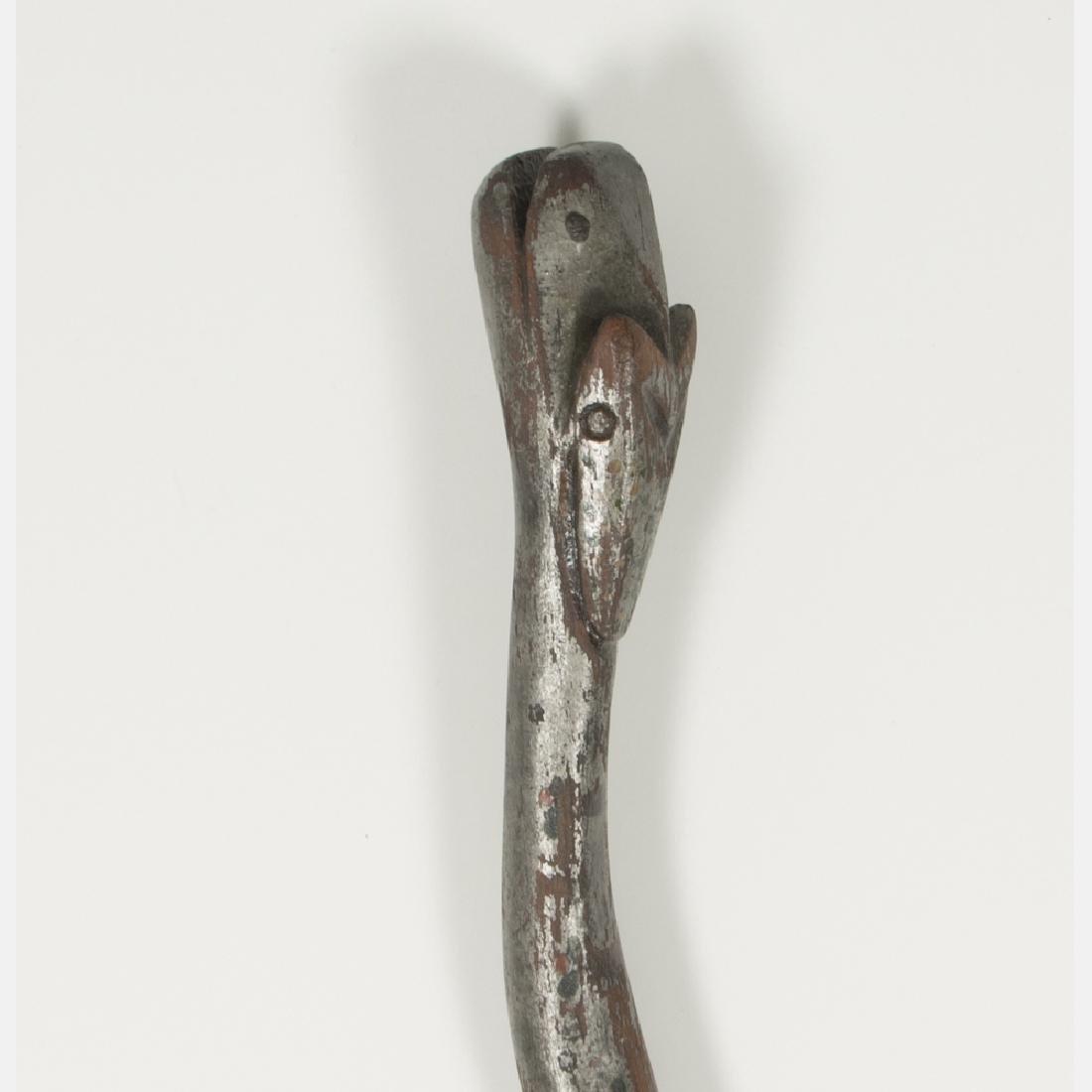 A Folk Art Carved and Painted Hardwood Snake Form Cane, - 3