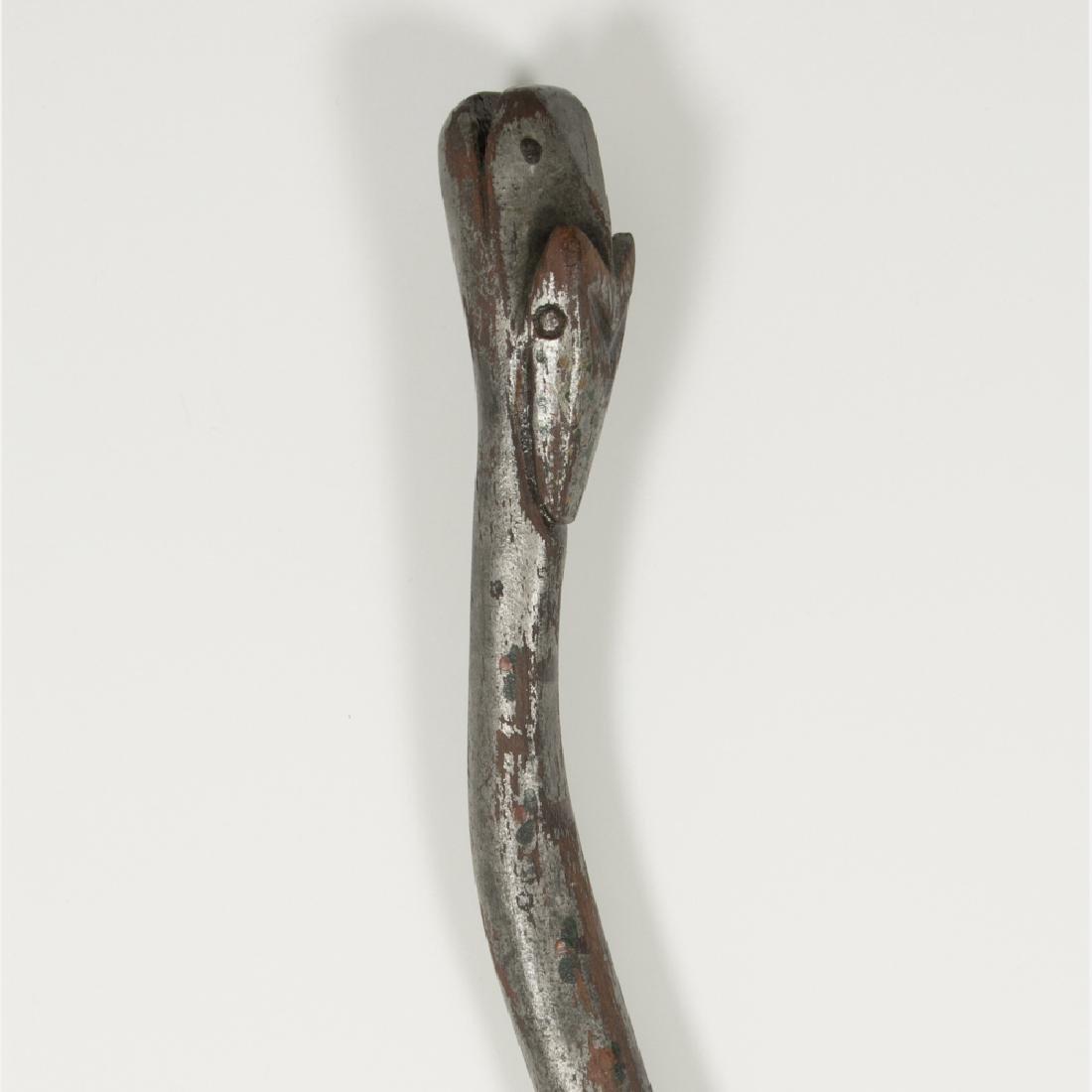 A Folk Art Carved and Painted Hardwood Snake Form Cane, - 4