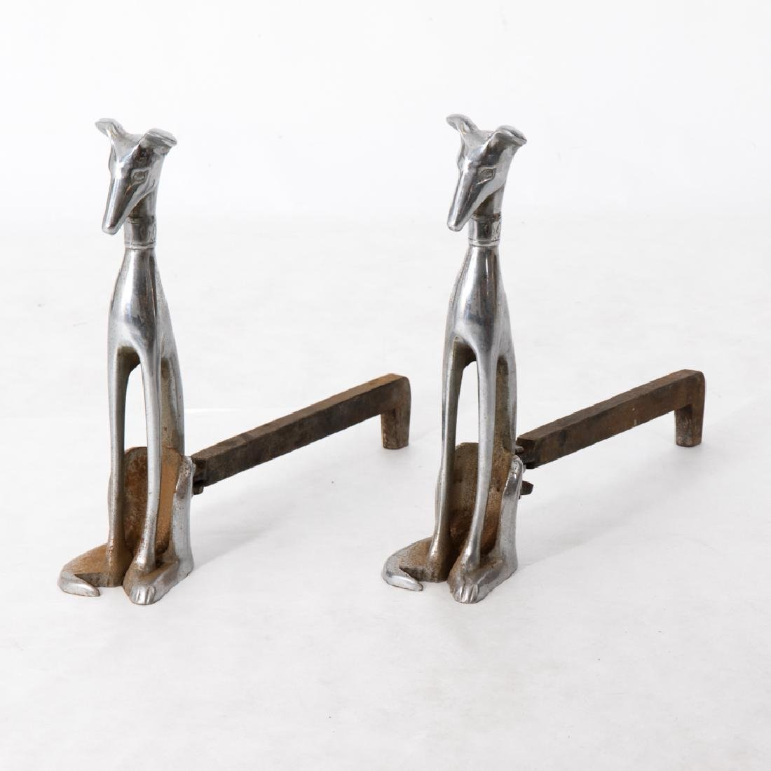 A Pair of Deco Style Chromed Steel Whippet Form