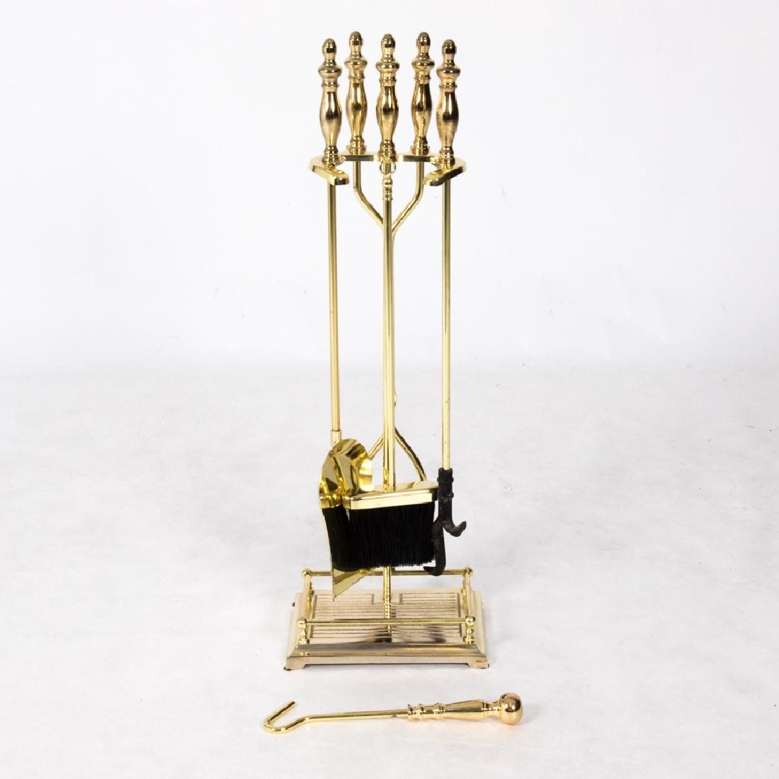 A Georgian Style Brass Fire Tool Set, 20th Century.