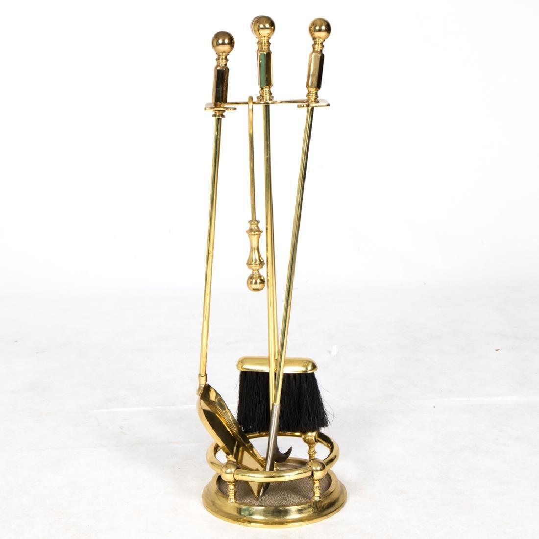 A Georgian Style Brass Four Piece Fire Tool Set, 20th