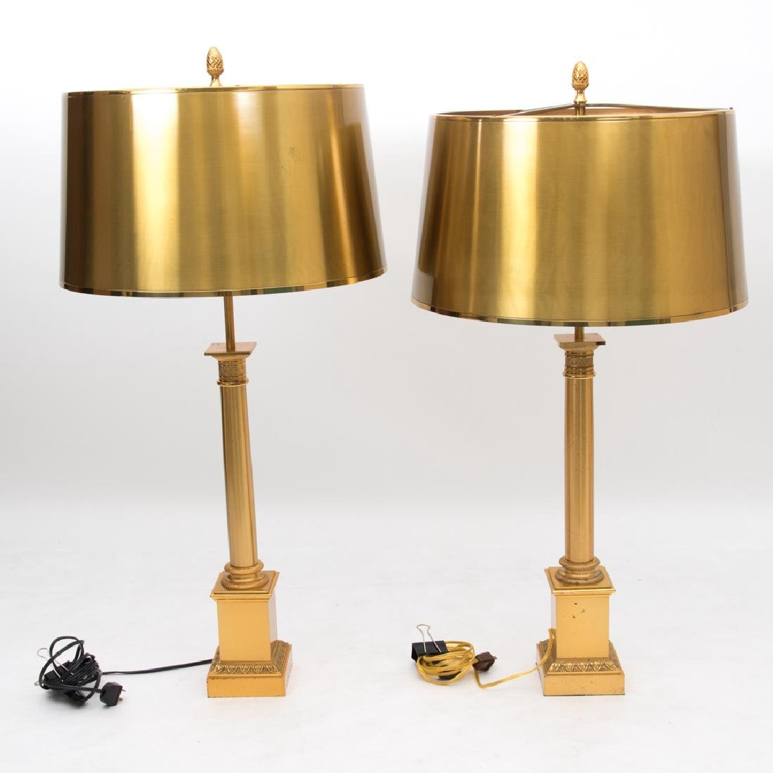 A Pair of Neoclassical Style Brass Column Form Table