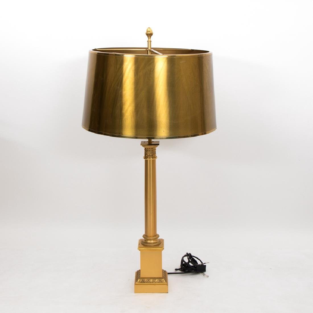 A Neoclassical Style Brass Column Form Table Lamp with