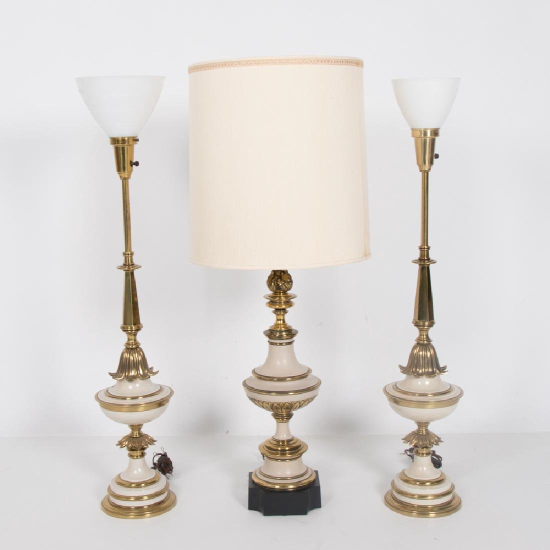 A Group of Three Vintage Painted Brass Table Lamps,