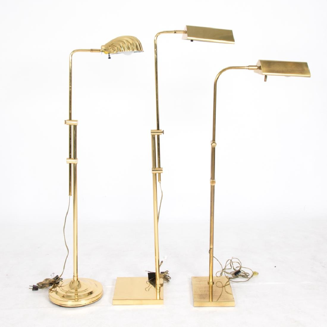 A Group of Three Brass Adjustable Floor Lamps, 20th