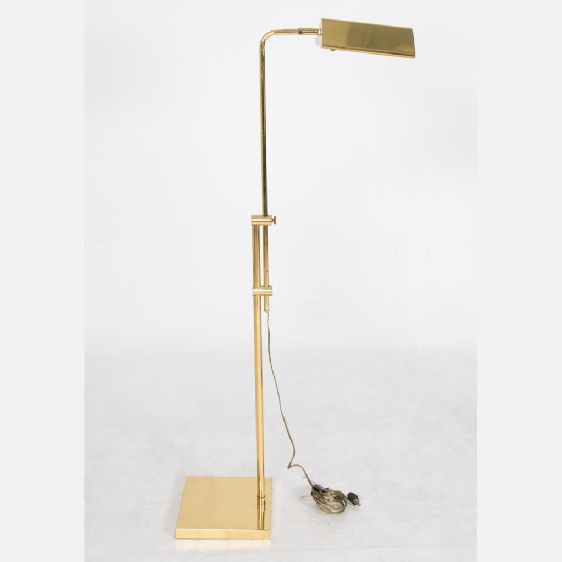 A Group of Three Brass Adjustable Floor Lamps, 20th - 3