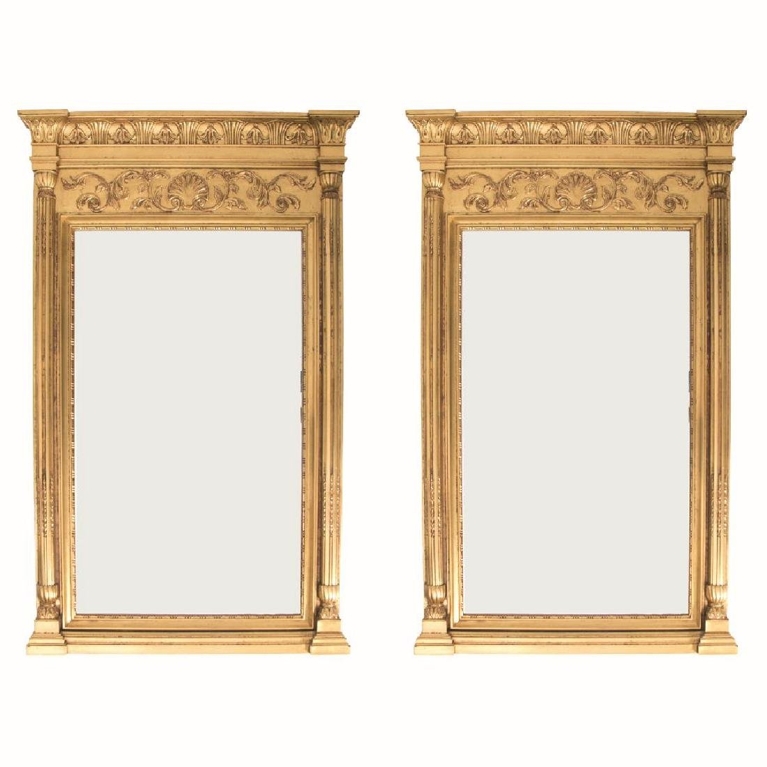 A Pair of Neoclassical Style Gilt Framed Beveled