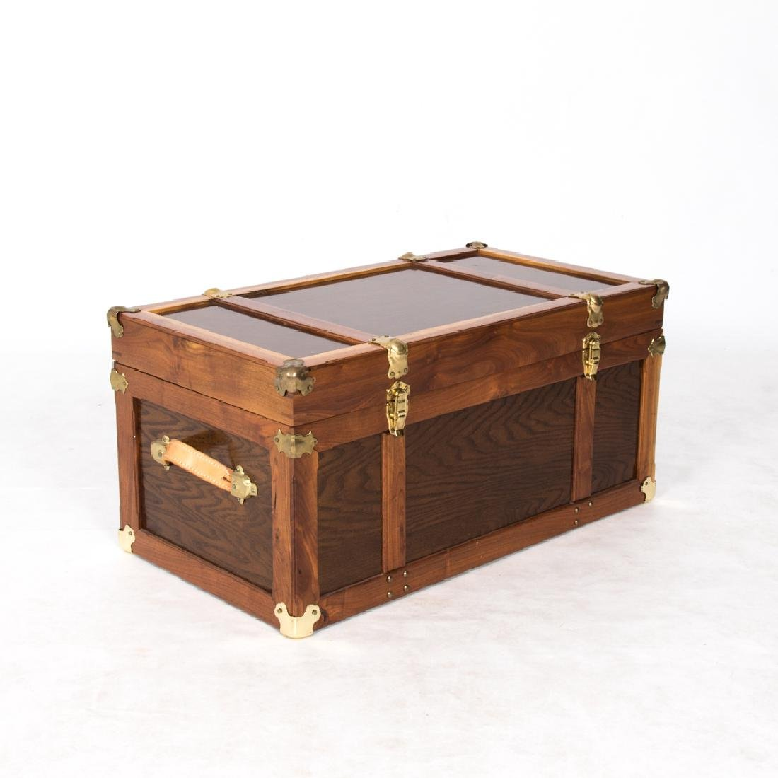 A Georgian Style Brass and Leather Trunk, 20th Century.